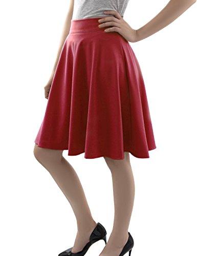 Aitos Damen Rock A-Line Gefaltete Midi Skater Röcke Basic Solid Dehnbaren Rot