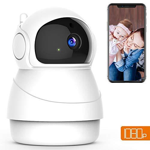 Wireless Camera, Fredi Baby Monitor Wifi IP Camera 1080P Telecamera Di Sicurezza Di Sorveglianza A Casa, Motion Detection Allarme, Audio Bidirezionale E Visione Notturna (Bianco)