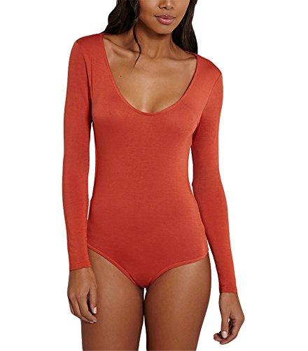 Hippolo Bodysuit Overall, Damen Rückenfreie Bodysuit Dehnbare Leotard Oberteile Bluse Stretch Tops (S, Orange) (Rückenfreie Bodysuit Leotard)