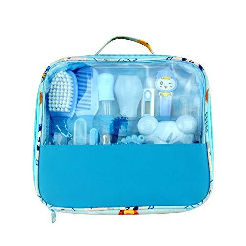 lulalula Baby Healthcare Kit, Baby Nail Care Set für Neugeborene, Baby Fellpflegeset Beauty Set 13 teilig mit Thermometer und Tragetasche, blau, 24x21cm -