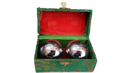 50mm Baoding Bolas chinas salud ejercicio bolas de estrés-CHROME color