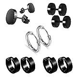 Ohrringe aus Titan für Männer Frauen, MMTX 5 Paar Edelstahl Kreolen Ohrringe,Kreis Ohrringe Hug Piercing 18G Schwarz