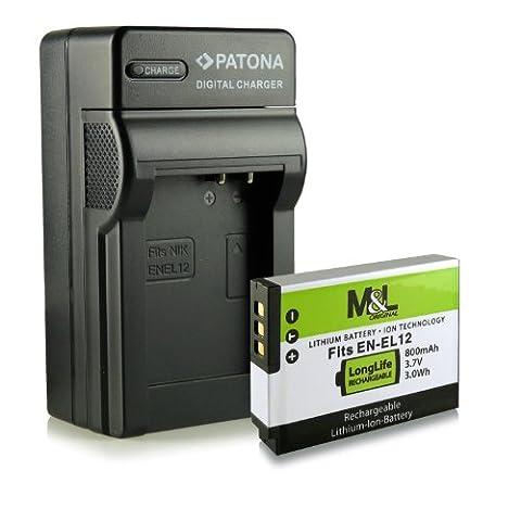 3in1 Ladegerät + Akku wie EN-EL12 für Nikon CoolPix AW100   AW110   P300   P310   P330   S31   S70   S710   S610   S610c   S620   S630   S640   S800c   S1000pj   S6100   S6300   S6400   S8000   S8100   S9100   S9200   S9300   S9400   S9500