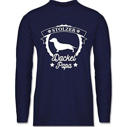 Shirtracer Hunde - Stolzer Dackel Papa - Herren Langarmshirt Navy Blau