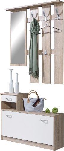 Germania 3663-157 Garderobe mit Paneel und Schuhschrank in Sonoma-Eiche-Nachbildung/Weiß, 100 x 195 x 25 cm (BxHxT)