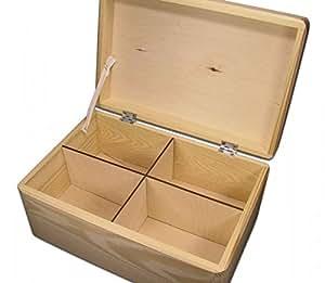 gro e aufbewahrungsbox holzkiste mit deckel kiefer unbeh incl 4er facheinsatz. Black Bedroom Furniture Sets. Home Design Ideas