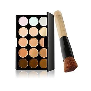 ROMANTIC BEAR Cosmetic Face Cream Concealer Contour Palette+Makeup Brush+Water Sponge Puff Set/Kit 15 Colors