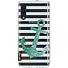 Phone case, thin TPU case. Shock-absorbing and scratch-resistant cover - glitter anchor mint print - casetastic