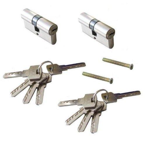 2 tlg. 60mm Set Zylinderschloss Einbauschloss Schließzylinder Schloss inkl. 8 x Schlüssel - GLEICHSCHLIESSEND