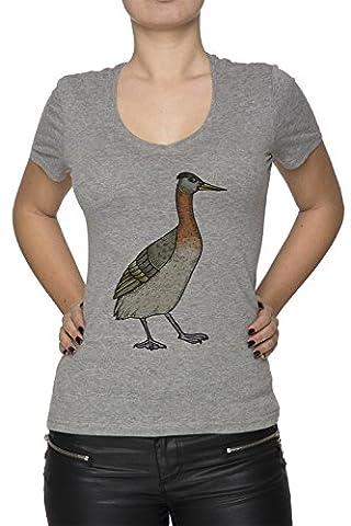 Oiseau Femme T-Shirt V-Col Gris Manches Courtes Taille L Women's V-Neck Grey Large Size L