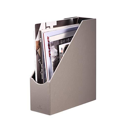 Faux Leder Magazin (vpack groß Home Office-Organizer Collection Stehsammler Organizer-Halter, verschiedene Farbe, Leder, Grau, Large)