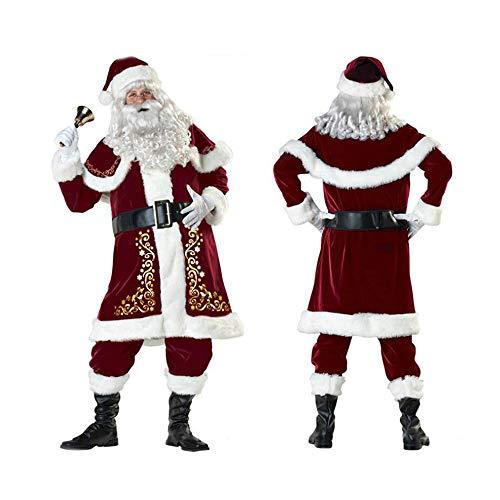 WEREIOV Weihnachtsmann Kostüm, 9Pcs Déguisement Père Noël Adulte Cosplay Halloween Christmas Party Kostüm, Kinder, Unisex,L