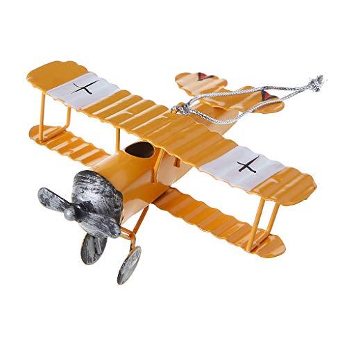 Kofun Metall Flugzeug Modell, Vintage Metall Flugzeug Modell Flugzeug Segelflugzeug Doppeldecker Aeromodelo Flugzeug Spielzeug Heimtextilien Gelb (Vintage Flugzeuge Spielzeug)