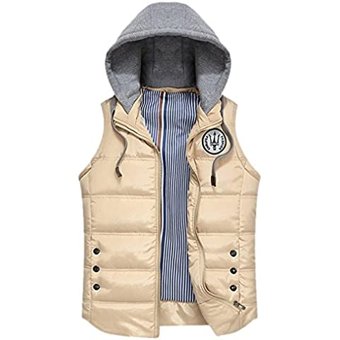 Panegy - Chaleco para Hombre Acolchado Chaqueta sin manga Dportiva con Capucha de Moda para Invierno Otoño - Azul Caqui - Talla ES 50 52 54