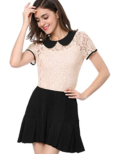 Allegra K Damen Kurzarm Panel Bubikragen Sheer Spitze Top Bluse Rosa L (EU - Sheer Womens Kostüm