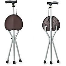 G&M Luz bastón Asiento Silla Médico plegable Cane Taburete Negro Portátil Asiento Camping Caminata Cinturón de tres piernas con un taburete , brown