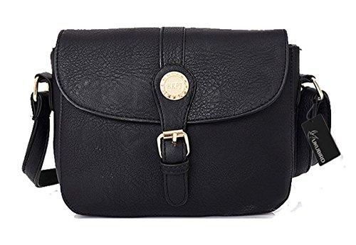 Kukubird Rebecca Qualità Ecopelle Crossbody Design Top-manico Spalla Tote Handbag Black