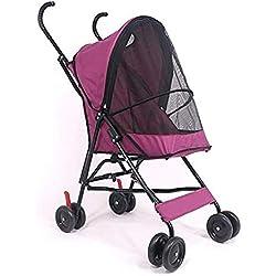 Plegable Ligero Cochecito para Mascotas, Gato Perro Mascota Cochecito Jogging Pet Travel Stroller Portable Carro De Paseo del Portaaviones-Rojo