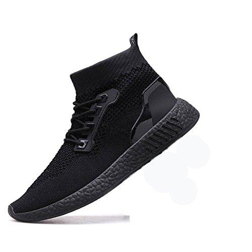 Herren LaufschuheABSOAR Mode Männer Hohe Hilfe Weiche Sohle Laufschuhe Gym Schuhe Socken Schuhe 2018 Sommer Sneaker Mode Rund Zeh Flach Freizeitschuhe (43, Schwarz)