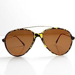 Accessoryo - Schildkröte Schale Rahmen Flieger Sonnenbrille mit Brauen und braunen Linsen