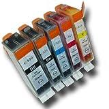 Prestige Cartridge PGI-520/CLI-521 Lot de 5 Cartouches d'encre compatible avec Imprimante Canon Pixma MP540, MP540x, MP550, MP560, MP620, MP620b, MP630, MP640, MP980, MP990, MX860, MX870, iP3600, iP3680, iP4600, iP4680, iP4700, Noir/Noir Photo/Cyan/Magenta/Jaune
