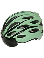 HYF-Aegis Noche de conducción casco especial + gafas + parpadeante, carretera / mountain bike de alto grado casco , green