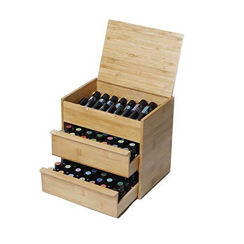 Yamyannie- 88 Slot Holz Essential Oil Box 3 Tier Brett nach innen Abnehmbarer Hält 15/10/5 ml Flaschen natürliche Bambus (Farbe : Natural, Größe : 26.5X24.5X19CM)