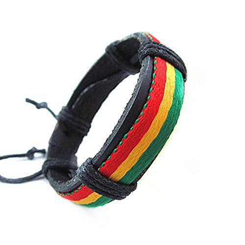 cameleon-shop-pulsera-cuero-negro-verde-amarillo-rojo-ajustable-de-155-a-23-cm
