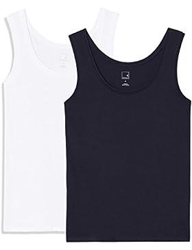 MERAKI Camiseta Slim Fit Mujer Cuello Redondo, Pack de 2
