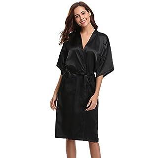 Aibrou Women's Kimono Robe Long Dressing Gowns Classic Satin Silk Wedding Bridal Bathrobes Nightwear Black