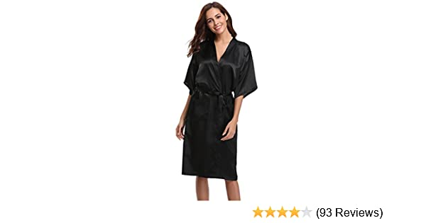 Aibrou Women s Kimono Robe Long Dressing Gowns Classic Satin Silk Wedding  Bridal Bathrobes Nightwear  Amazon.co.uk  Clothing f0c5cf2f4