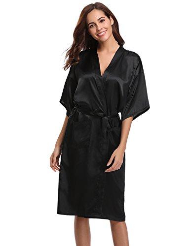 Kimono Satin-gürtel (Aibrou Damen Satin Morgenmantel Kimono Lang Bademantel Schlafanzug Negligee Nachthemd Nachtwäsche Unterwäsche V Ausschnitt Mit Gürtel, Gr. M, Farbe: Schwarz)