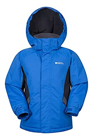 Mountain Warehouse Raptor Kids Snow Jacket - Snow Proof Fabric, Adjustable Cuffs with Fleece Lining & Integrated Snow Skirt - Perfect for some alpine action this season Cobalt 5-6