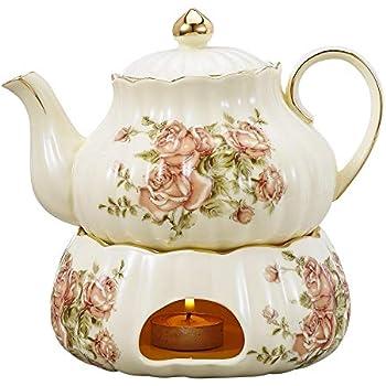 Panbado Elfenbein Porzellan Kaffee Kanne mit Stövchen