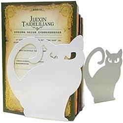 Sujetalibros de metal con diseño de gato persa para estanterías, estatuas, libros, decorativos, 1 par, color blanco