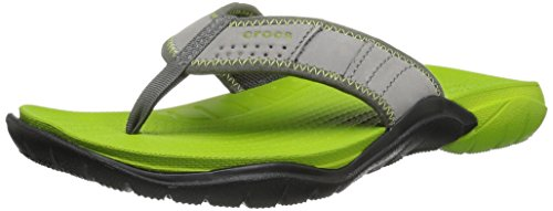 crocs Herren Swiftwaterflipm Pantoffeln, Grau (Graphite/Volt Green), 43-44 EU
