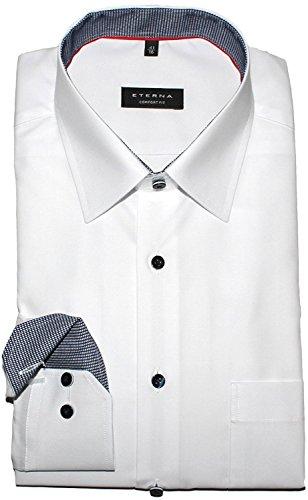 ETERNA Herrenhemd Comfort Fit, weiß, Patch blau kariert, 42