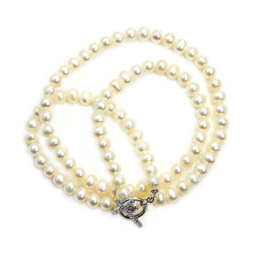 Plaza Creme (Die Silber Plaza Faux Pearl Strand Halskette mit Knebelverschluss Sterling Silber & CZ Kreuz)