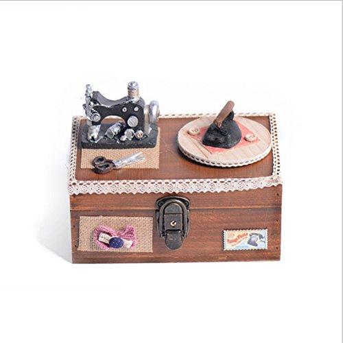WINOMO Miniatur Handgemachten Schmuck Box Klassische Vintage Sewing Machine Musik Aufbewahrungsbox für Heimtextilien (Braun) (Vintage Box Sewing)