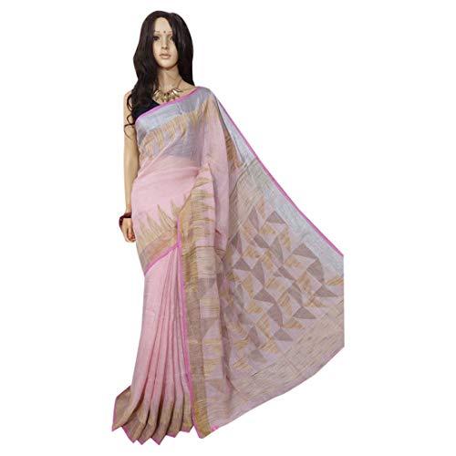 ETHNIC EMPORIUM Indisches ethnisches Leinen Jamdani Saree Sari Pink Colored Fancy Damenkleid 100a -