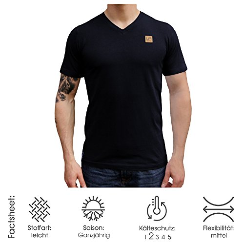 urban air StyleFit | T-Shirt Basic | Herren | Sport und Freizeit | 95% Baumwolle, Leder-Patch, Kurzarm | Weiß, Schwarz, oder Hell/Dunkel Grau | S, M, L, XL Schwarz