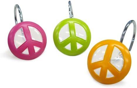 Allure Home Creation PEOHK00 Peace Peace Peace Out Shower Curtain Hooks, Peace Out, Hook e2c783