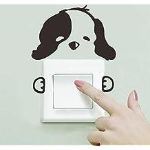 Ecloud Shop® Diseño blanco del perro de la historieta encantadora Negro 2 PC fijaron la etiqueta engomada del interruptor de pared ligera para habitaciones de niños del arte del vinilo del papel pintado