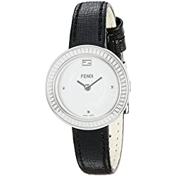 Fendi My Way F354024011 28mm Stainless Steel Case Black Calfskin Anti-Reflective Sapphire Women's Watch