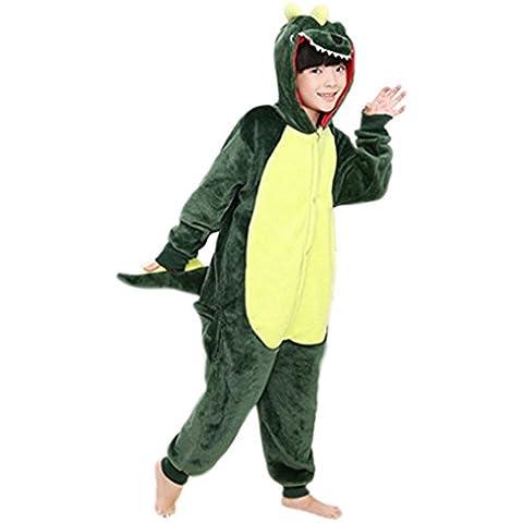 Happy Cherry - Pijama de Animal Disfraz Cosplay Traje de Halloween de Franela para Niños Niñas con Capucha - Dinosaurio Cerdo Vaca - Talla ES 2-3 años 4-5 años 6 años 7-8 años 9-10 años