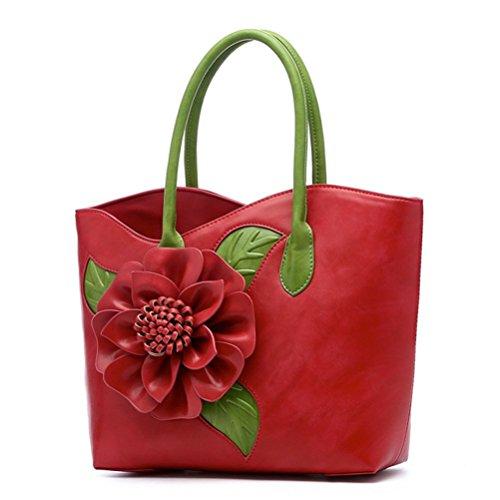 b990940d8f4e4 Honeymall Damen taschen Ledertasche Lederrucksack 3D Blumen Serie Vanille  Schokolade Henkeltasche Handtaschen mit Blumenmuster Tasche(