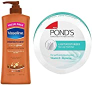 Vaseline Intensive Care Cocoa Glow Body Lotion, 400 ml & Ponds Light Moisturiser 150ml