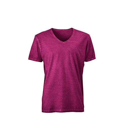 JAMES & NICHOLSON Herren T-Shirt, Einfarbig Rot