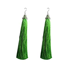 Peora Tassel Party Wear Green Alloy Long Drop Earrings For Women And Girls