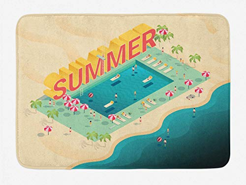 Bath Rug Pool Party Bath Mat, Isometric Summer Lettering Ocean and Swimming Pool Fun at Beach Umbrellas Ball, Plush Bathroom Decor Mat, 16x 24 Inches, Multicolor (Ball 24 Beach Zoll)